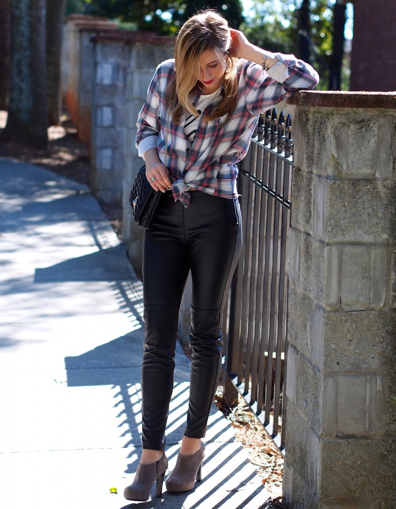 faux leather and plaid ootd