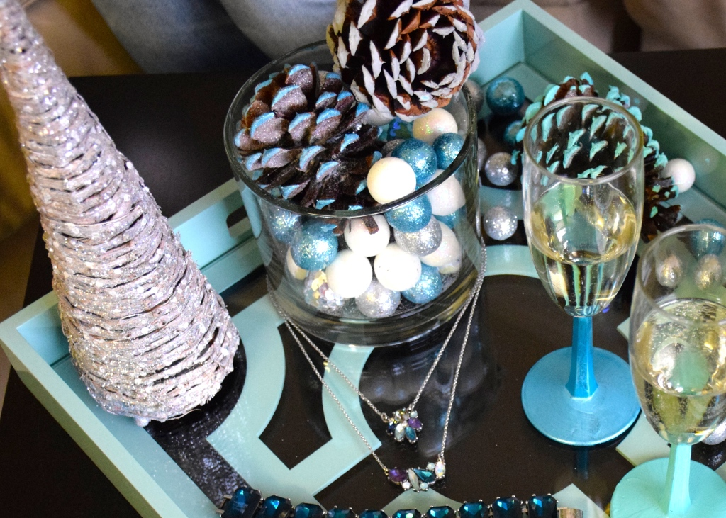 DIY Snowy Pinecone and Champagne Flute